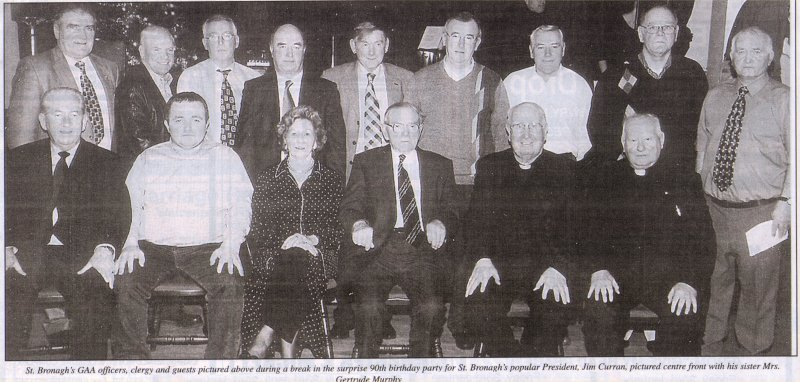 Jim Curran and friends in St Bronagh's GAA Club, Rostrevor on 29 December 2002, on the occasion of his 90th birthday
