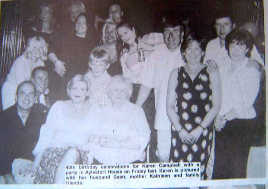 Karen Campbell and guests at her 40th birthday celebrations in Warrenpoint on 23 August 2002